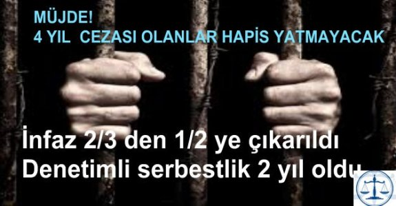 Müjde...4 yıl cezası olan hapis yatmayacak