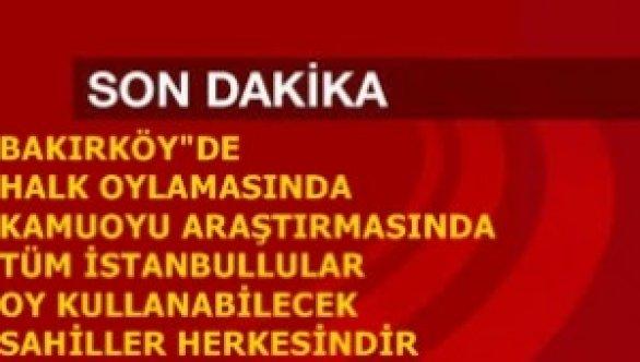 """BAKIRKÖY""""DE KAMUOYU ARAŞTIRMASI İÇİN SANDIK KURULUYOR"""
