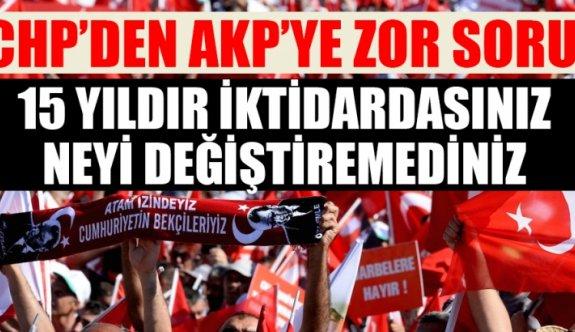 """CHP""""DEN AKP""""YE  ZOR SORU .15 YILDIR İKTİDARDASINIZ NEYİ DEĞİŞTİREMEDİNİZ"""