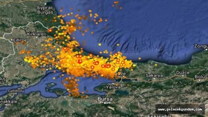 İstanbul'daki şimşekler haritada böyle görüntülendi