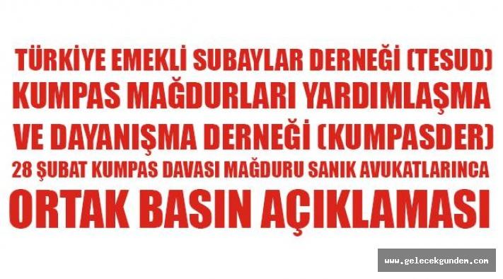Türkiye Emekli Subaylar Derneği (TESUD) ve Kumpas Mağdurları Yardımlaşma ve Dayanışma Derneği (KUMPASDER),Basın Açıklaması