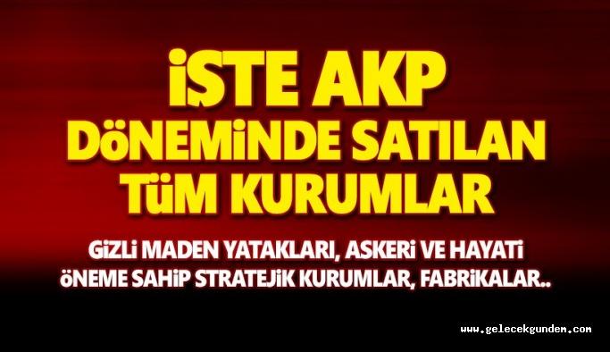 16 Yıllık ,AKP döneminde satılan kurumların listesi! Gizli maden yatakları