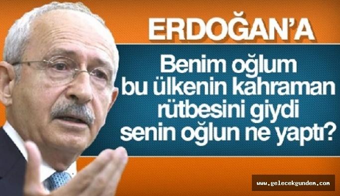 Kılıçdaroğlu'ndan Erdoğan'a: Benim oğlum, bu ülkenin kahraman rütbesini giydi, senin oğlun ne yaptı?