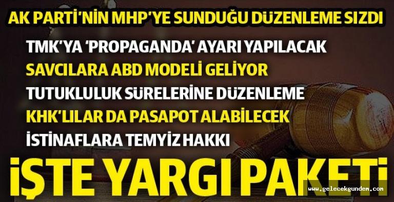 Yargı Paketi  Taslak metinde MHP Genel Başkanı Devlet Bahçeli'nin 'af' çağrısıyla gündeme gelen ceza infaz indirimi maddesi yok.